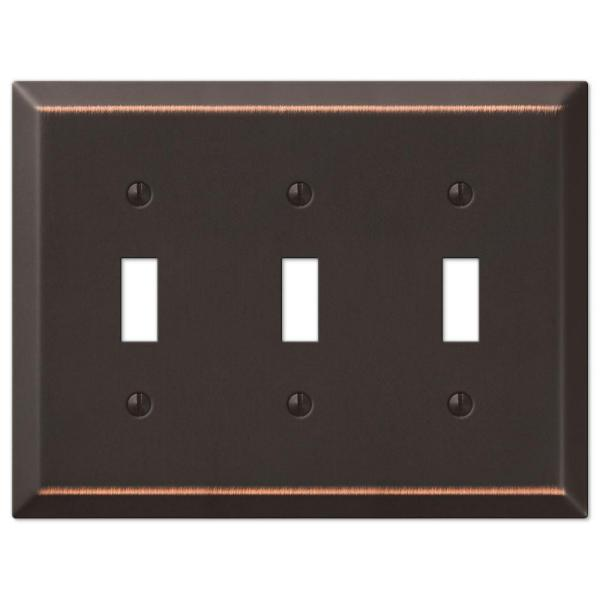 Metallic 3 Gang Toggle Steel Wall Plate - Aged Bronze
