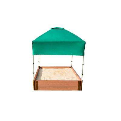 4 ft. x 4 ft. x 11 in. Square Sandbox Composite with Telescoping Canopy/Cover (2 in. Profile)