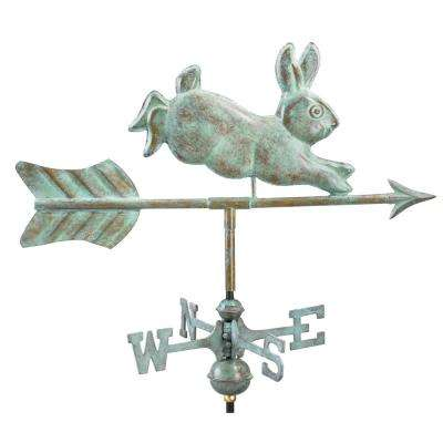 Rabbit Cottage Weathervane - Blue Verde Copper with Roof Mount