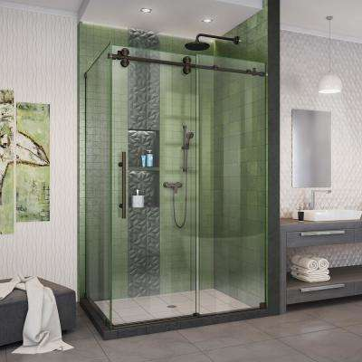 Enigma-XO 44 3/8 - 48 3/8 in. W x 76 in. H Fully Frameless Sliding Shower Enclosure in Oil Rubbed Bronze Stainless Steel