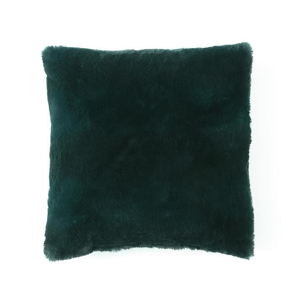 Morgan Home Millburn Faux Fur Green Solid Faux Fur Polyester in. x 18 in. Throw Pillow