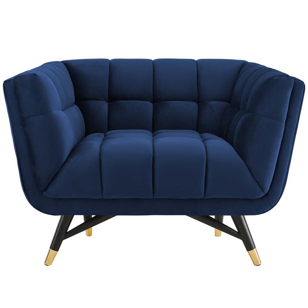 Adept Upholstered Velvet Armchair in Midnight Blue