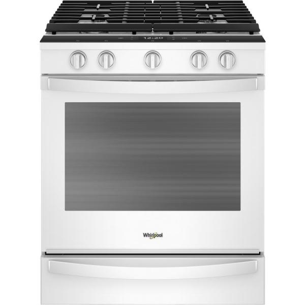 Whirlpool 5.8 cu. ft. Smart Slide-In Gas Range with EZ-2-LIFT Hinged Cast-Iron Grates in White