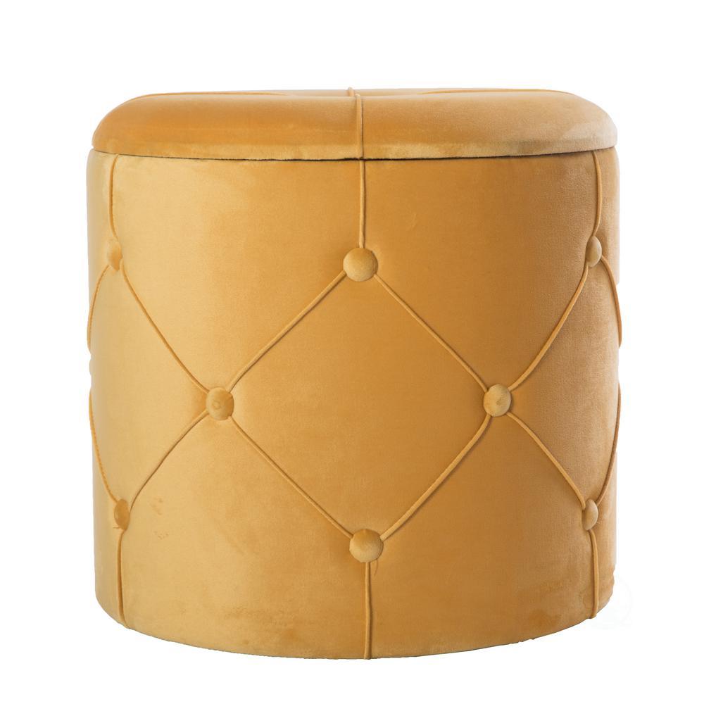 Peachy Bold Tones 15 5 In H Yellow Round Wooden Velvet Ottoman Machost Co Dining Chair Design Ideas Machostcouk