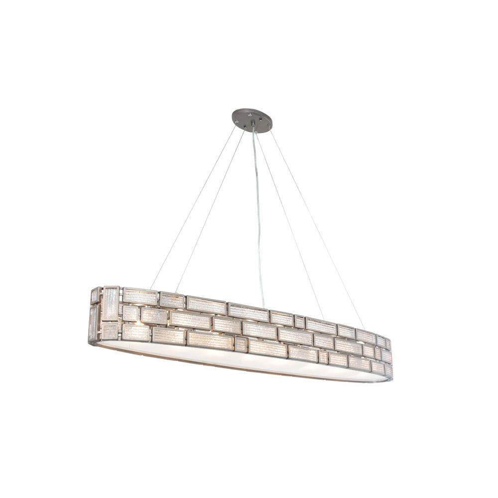 Varaluz Harlowe 6-Light New Bronze Linear Pendant with Textured Ice Glass