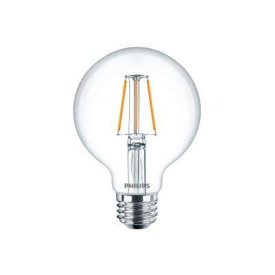 40W Equivalent Clear Glass Dimmable G25 with Warm Glow Effect LED Light Bulb (2-Pack)