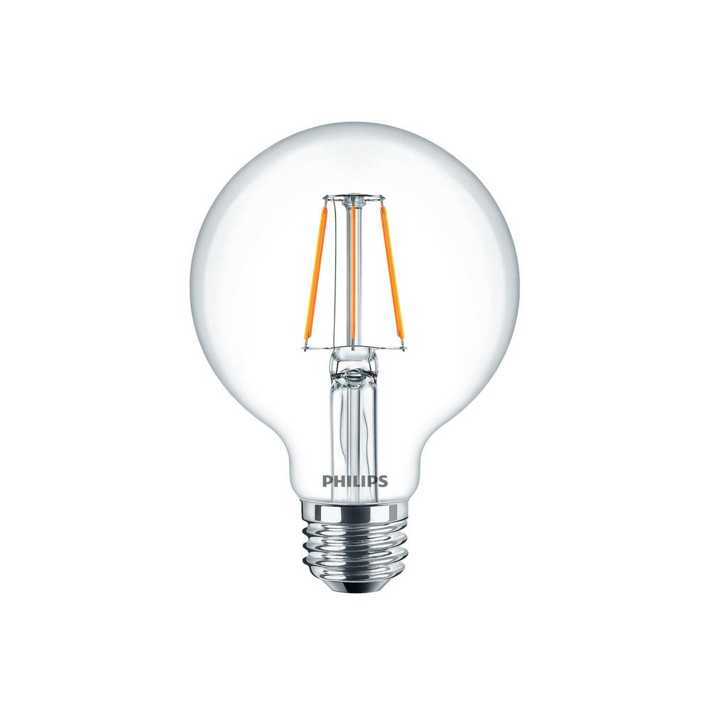 Philips 40w Equivalent Clear Glass Dimmable G25 With Warm Glow Effect Led Light Bulb 2 Pack