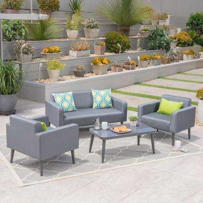 Torben Gunmetal 4 Piece Aluminum Patio Conversation Set With Dark Gray Mesh Cushions 2