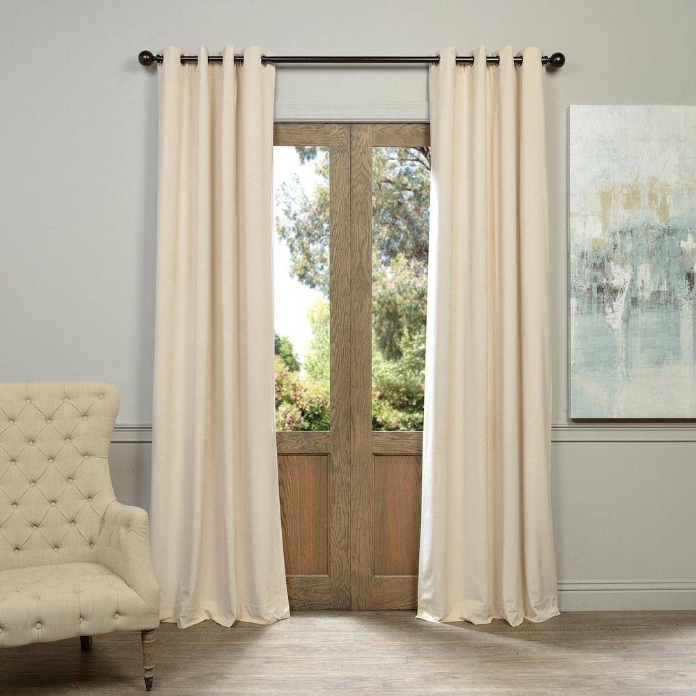 Exclusive Fabrics & Furnishings Blackout Signature Ivory Grommet Blackout Velvet Curtain - 50 in. W x 96 in. L (1 Panel)