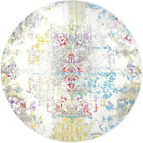 Home Dynamix Boho Ivory/Multi 5 ft. 2 in. Indoor Round Area Rug 6R