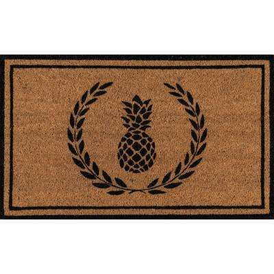 Park Pineapple Black and Natural 1 ft. 6 in. x 2 ft. 6 in. Indoor/Outdoor Doormat