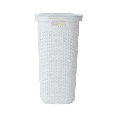 50-Liter White Plastic Laundry Basket with Cutout Handles
