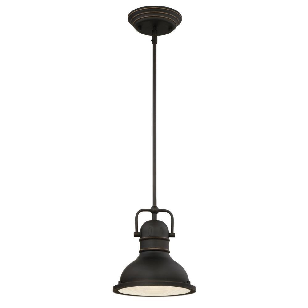 Westinghouse Boswell 1-Light Oil Rubbed Bronze with Highlights Mini Pendant with LED Bulb