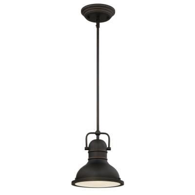 Boswell 1-Light Oil Rubbed Bronze with Highlights LED Mini Pendant with Frosted Prismatic Acrylic Lens