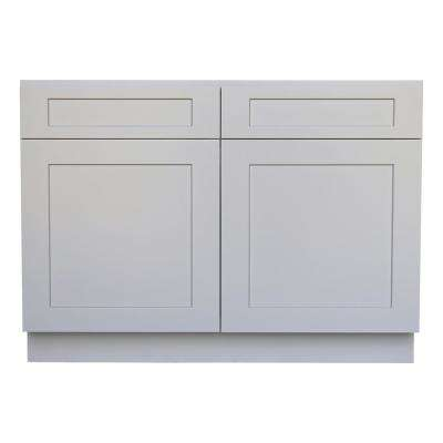 Plywell Ready to Assemble 42x34.5x24 in. Shaker Sink Base Cabinet with 2-Door and 2 Fake Drawer in Gray