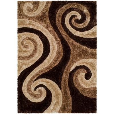 Plush Abstract Brown Area Rugs Rugs The Home Depot