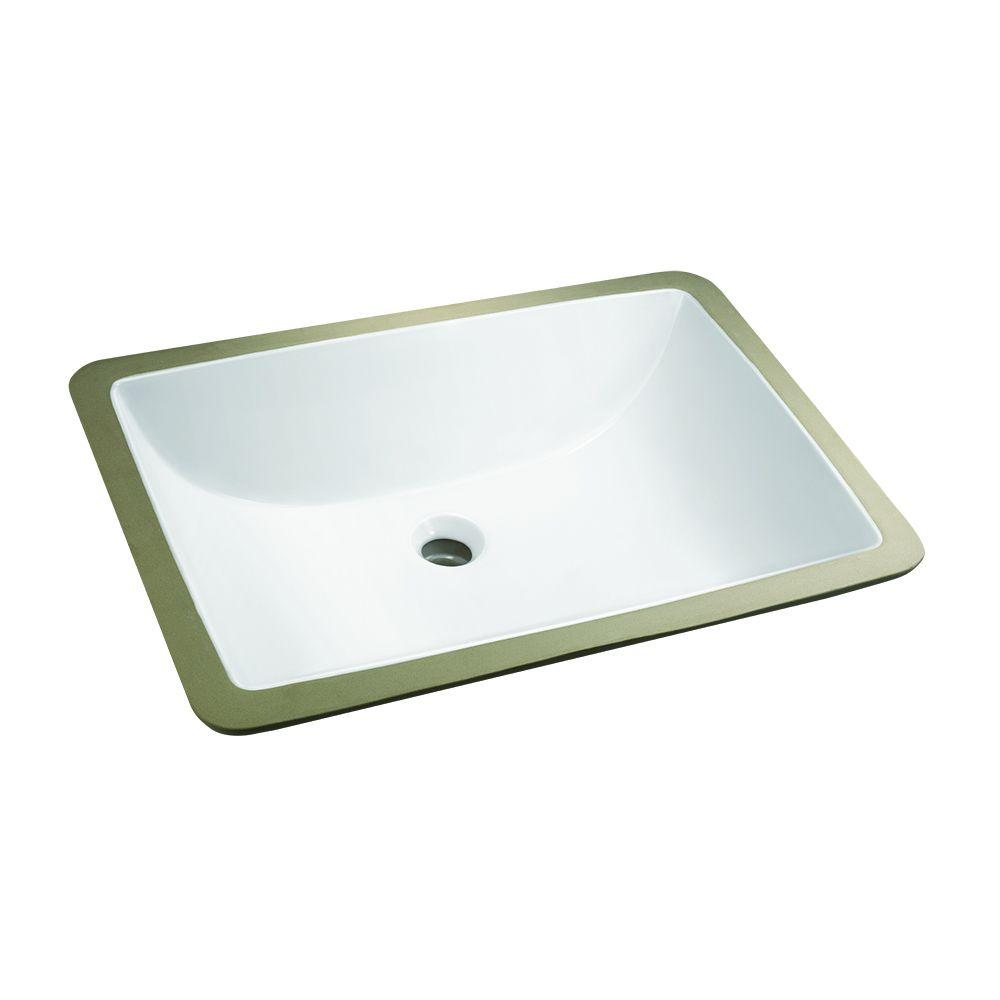 Rectangle Undermounted Bathroom Sink in White