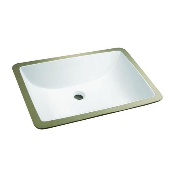 Glacier Bay Rectangle Undermounted Bathroom Sink In White 14 027 W The Home Depot