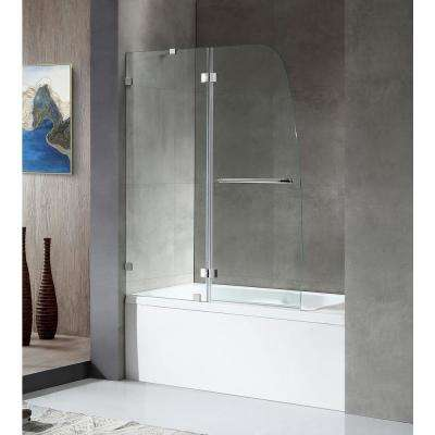HERALD Series 48 in. x 58 in. Frameless Hinged Tub Door in Chrome with Towel Bar Handle