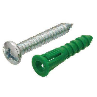 #14-16 5/16 in. x 1-1/2 in. Green Pan-Head Combo-Drive Plastic Ribbed Anchors with Screws (5-Pack)