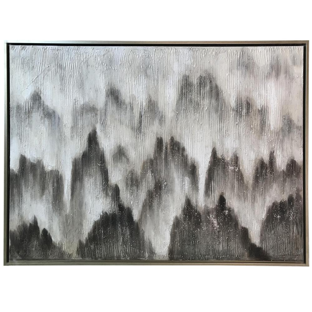 StyleCraft Contemporary Silver Canvas, Metal Framed Wall Art, Ivory was $299.85 now $94.32 (69.0% off)