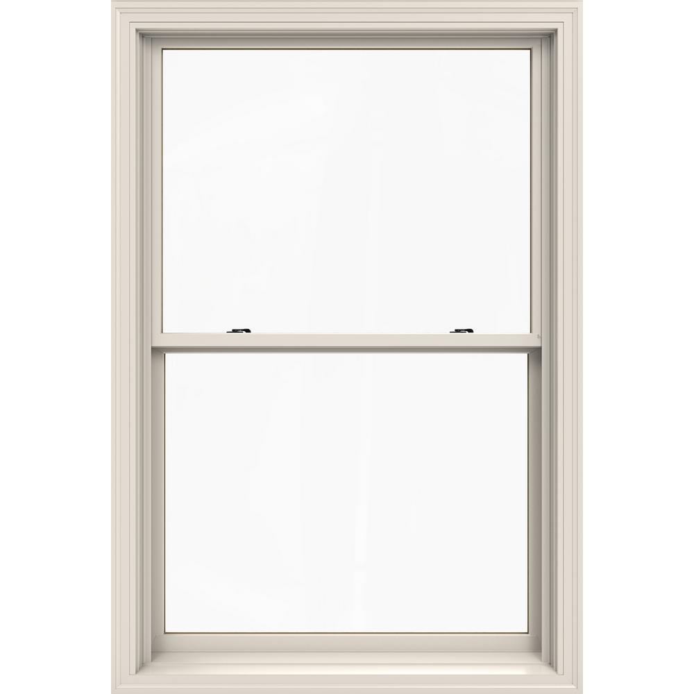 Jeld Wen 37 375 In X 56 5 W 2500 Series White Painted Clad Wood Double Hung Window Natural Interior And Low E Gl