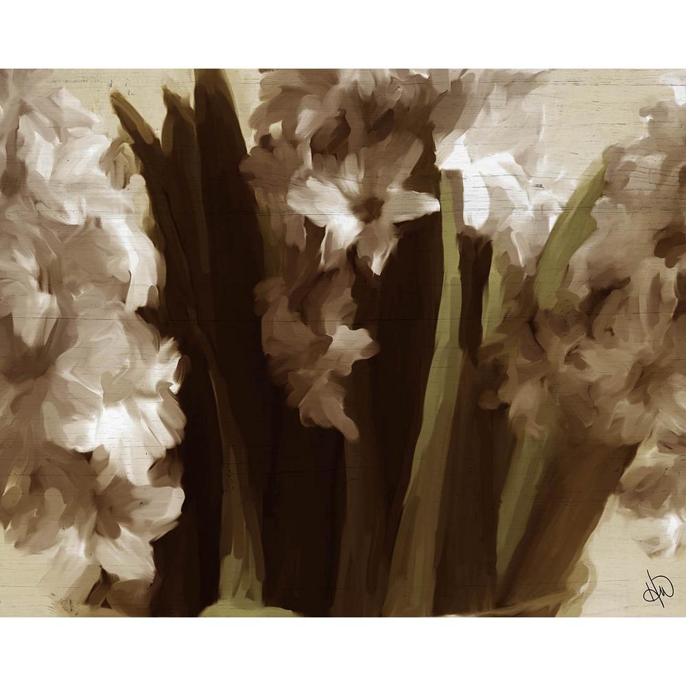 "16 in. x 20 in. ""Flowers in Vase"" Planked Wood Wall Art Print"