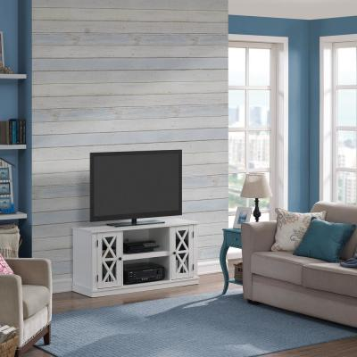 Bayport 16 in. White Particle Board TV Stand Fits TVs Up to 55 in. with Storage Doors