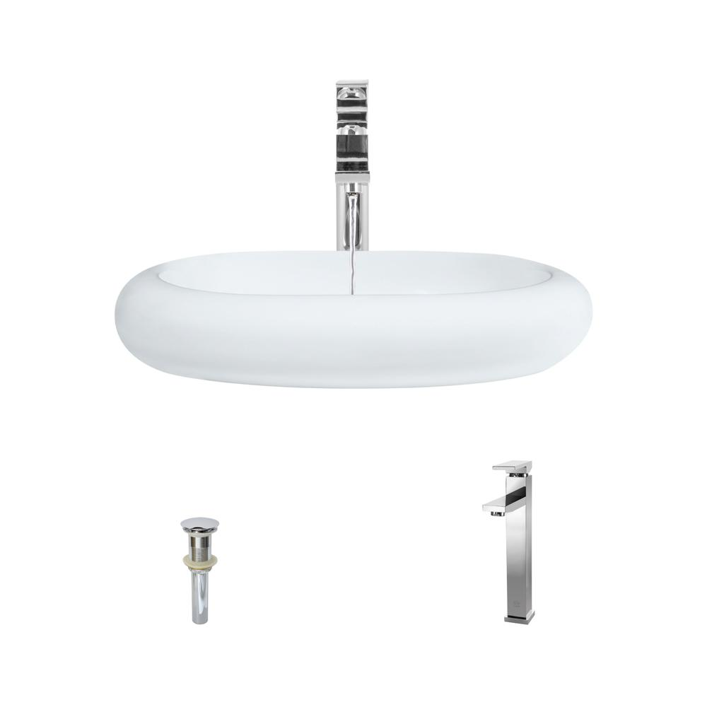 MR Direct Porcelain Vessel Sink in White with 721 Faucet and Pop-Up ...