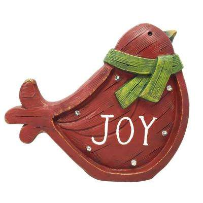 TM 10 in. H Christmas Bird Light Up Statue Decor