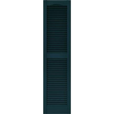 15 in. x 60 in. Louvered Vinyl Exterior Shutters Pair in #166 Midnight Blue