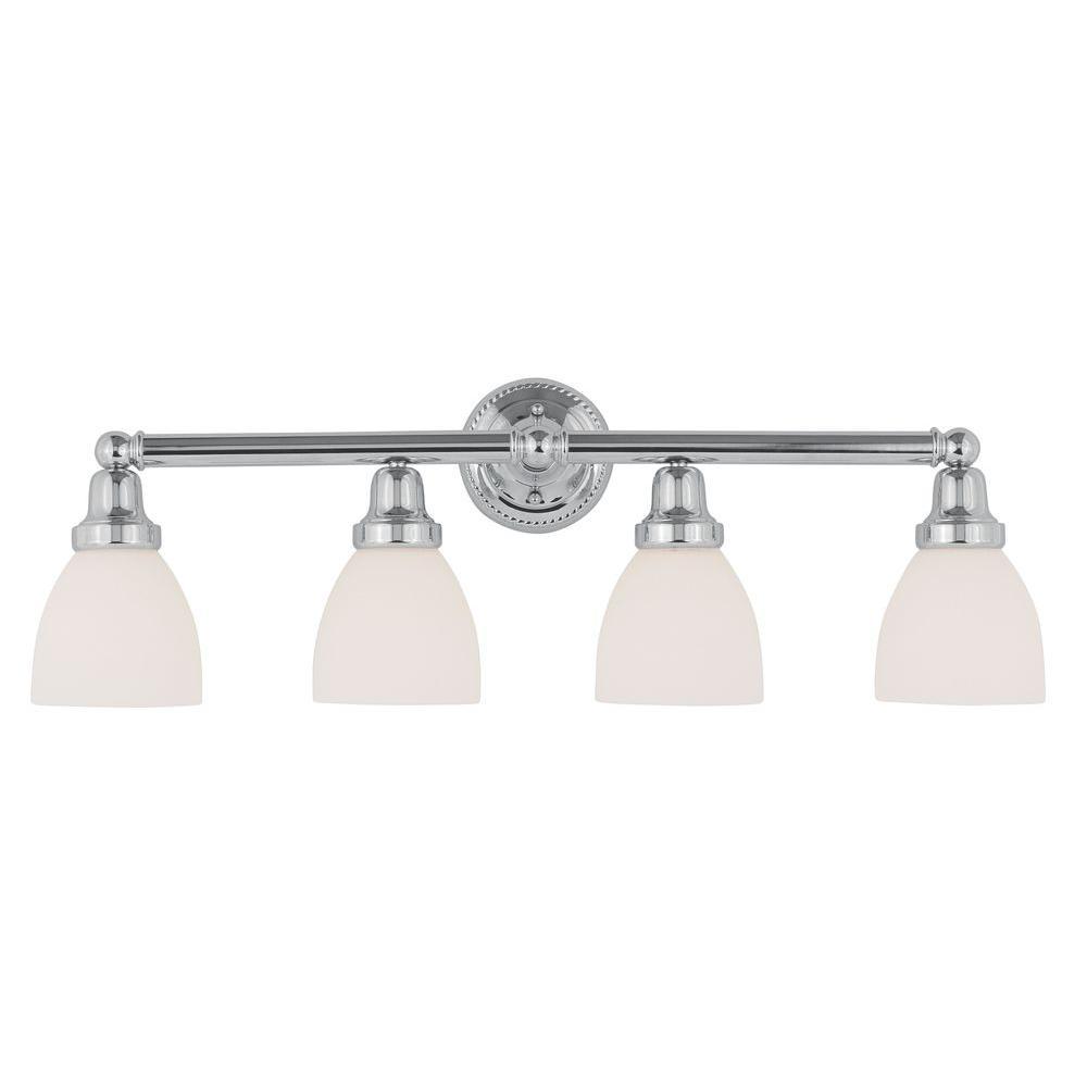 4-Light Chrome Bath Light with Satin Glass Shade
