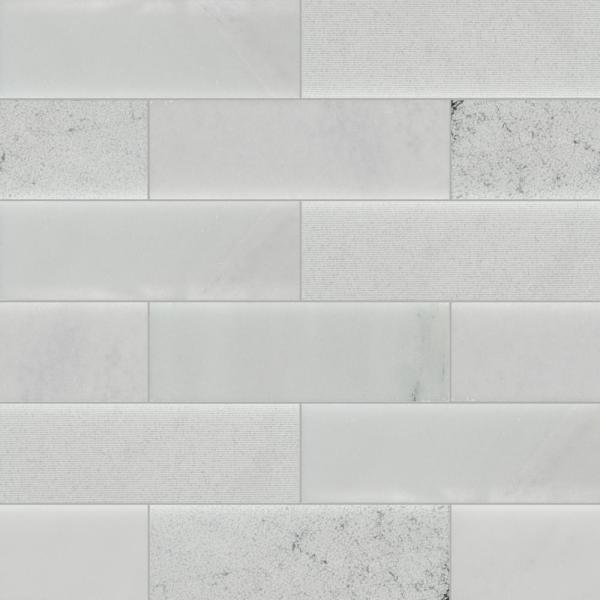 Greecian White 4 in. x 12 in. Textured Multi Finish Marble Floor and Wall Tile (2 sq. ft. / case)