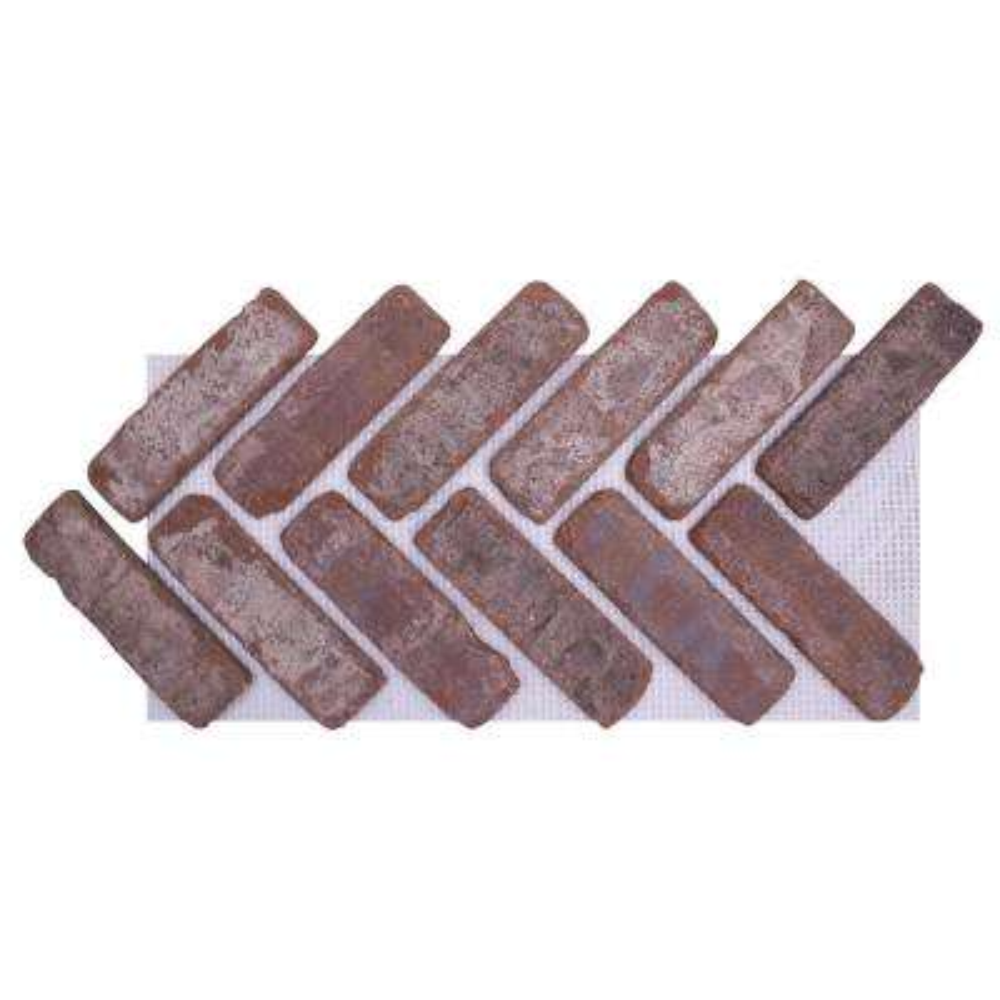 28 in. x 12.5 in. x 1/2 in. (8.7 sq. ft.) Brickwebb Herringbone Castle Gate Thin Brick Sheets (Box of 5-Sheets)