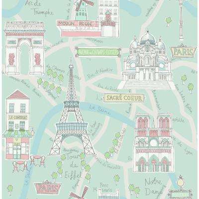 Kids Bon Voyage Teal and Periwinkle Scenic Wallpaper