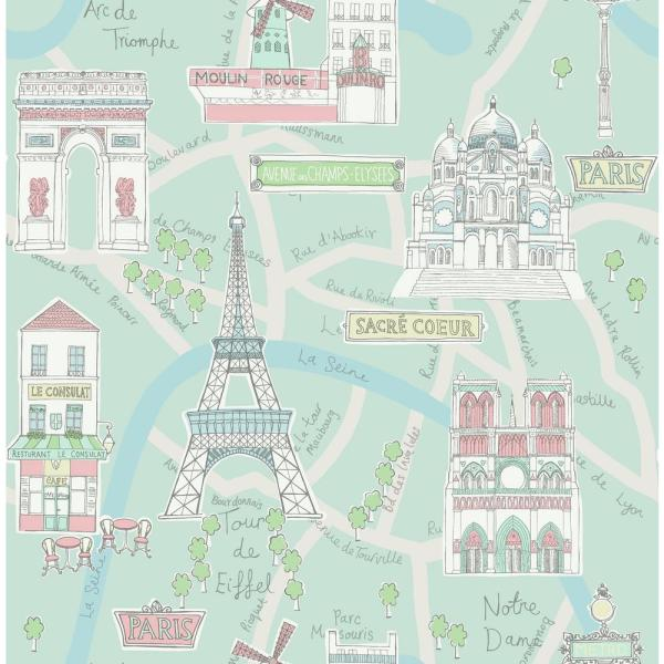 Wallquest Kids Bon Voyage Teal and Periwinkle Scenic Wallpaper