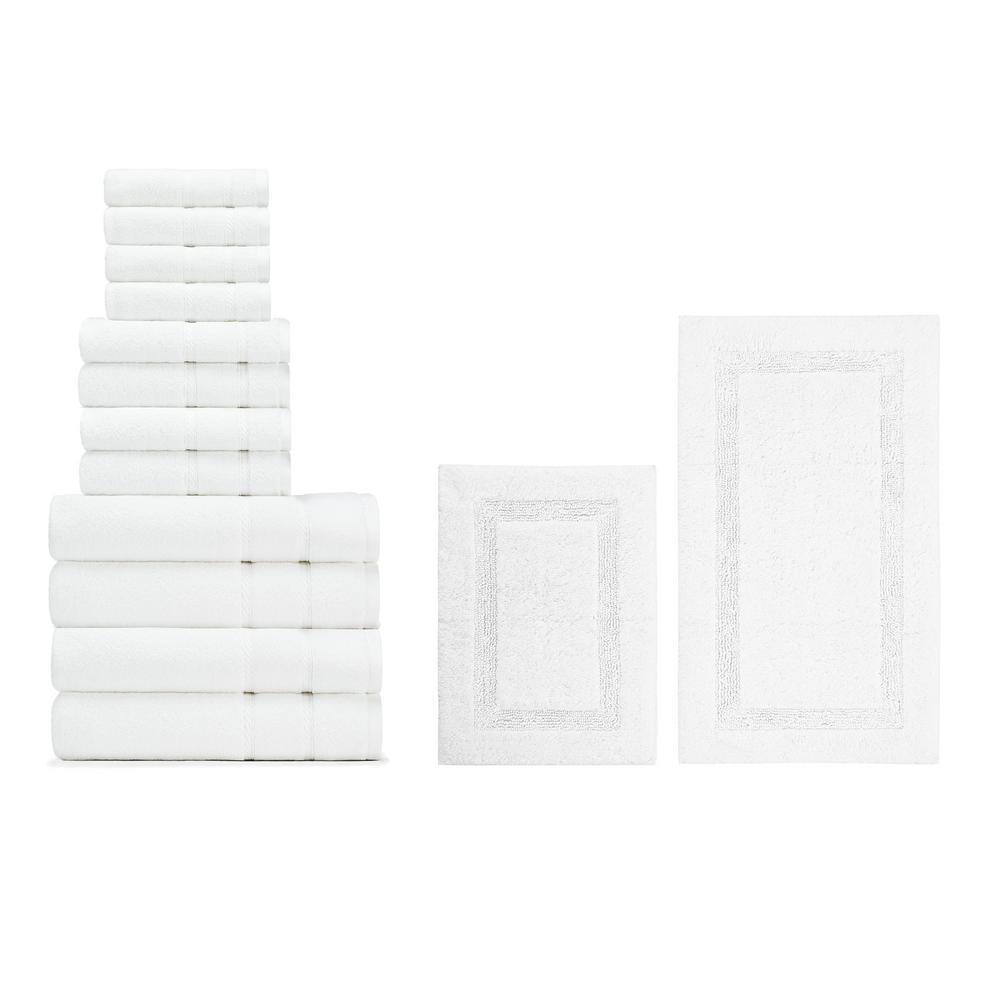 14-Piece Belle Haven/Peniston White Cotton Bath Towel and Rug Set