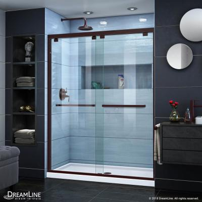Encore 56 to 60 in. x 76 in. Semi-Frameless Sliding Shower Door in Oil Rubbed Bronze