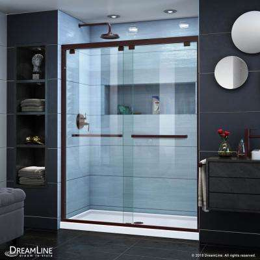 Encore 56 in. to 60 in. x 76 in. Framed Sliding Shower Door in Oil Rubbed Bronze