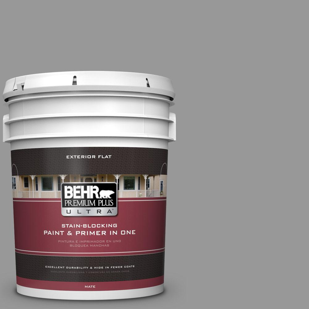 5 gal. #HDC-NT-10A Dolphin Gray Flat Exterior Paint