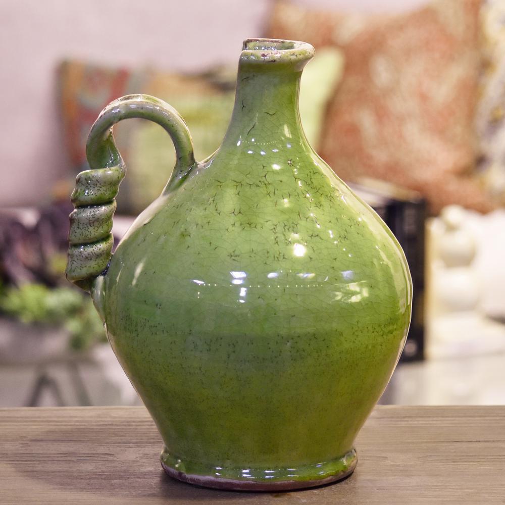 Green Gloss Distressed Ceramic Decorative Vase