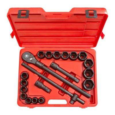 3/4 in. Drive 3/4-2 in. 6-Point Shallow Impact Socket Set (21-Piece)
