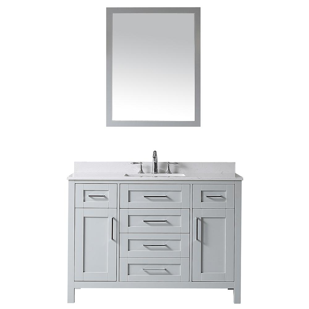 OVE Decors OVE Tahoe 48 in. W x 21 in. D Vanity in Dove Grey with Cultured Stone Vanity Top in White with White Basin and Mirror