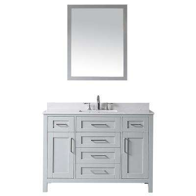 OVE Tahoe 48 in. W x 21 in. D Vanity in Dove Grey with Cultured Stone Vanity Top in White with White Basin and Mirror