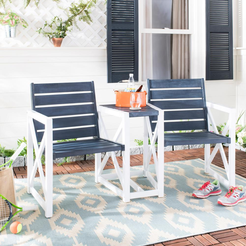 Jovanna 61.8 in. 2-Seat Dark Slate Gray Wood Outdoor Bench