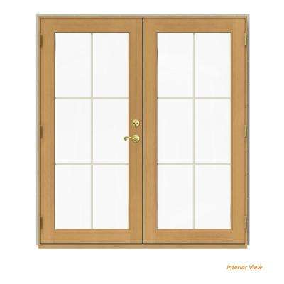 72 in. x 80 in. W-2500 Desert Sand Clad Wood Right-Hand 6 Lite French Patio Door w/Stained Interior