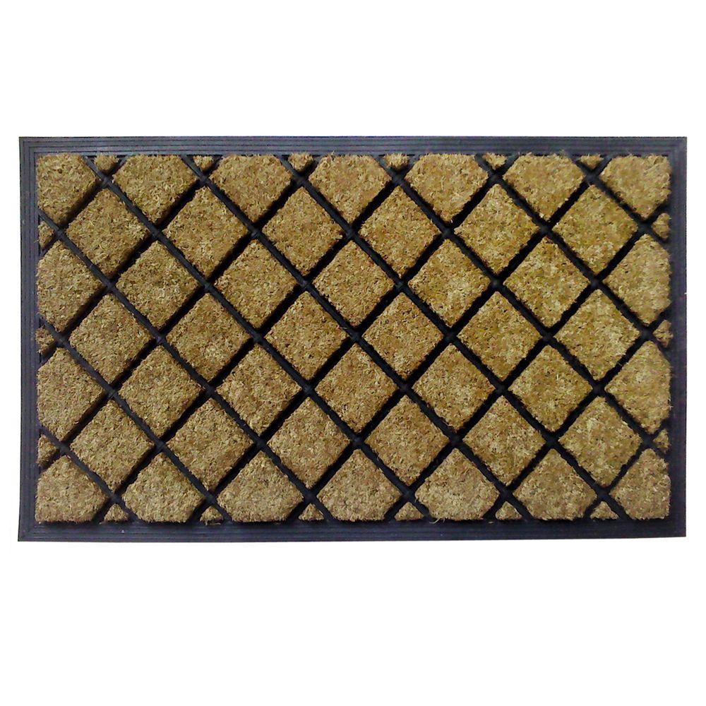 Dirt Busters Lattice 18 in. x 30 in. Rubber Coir Door Mat
