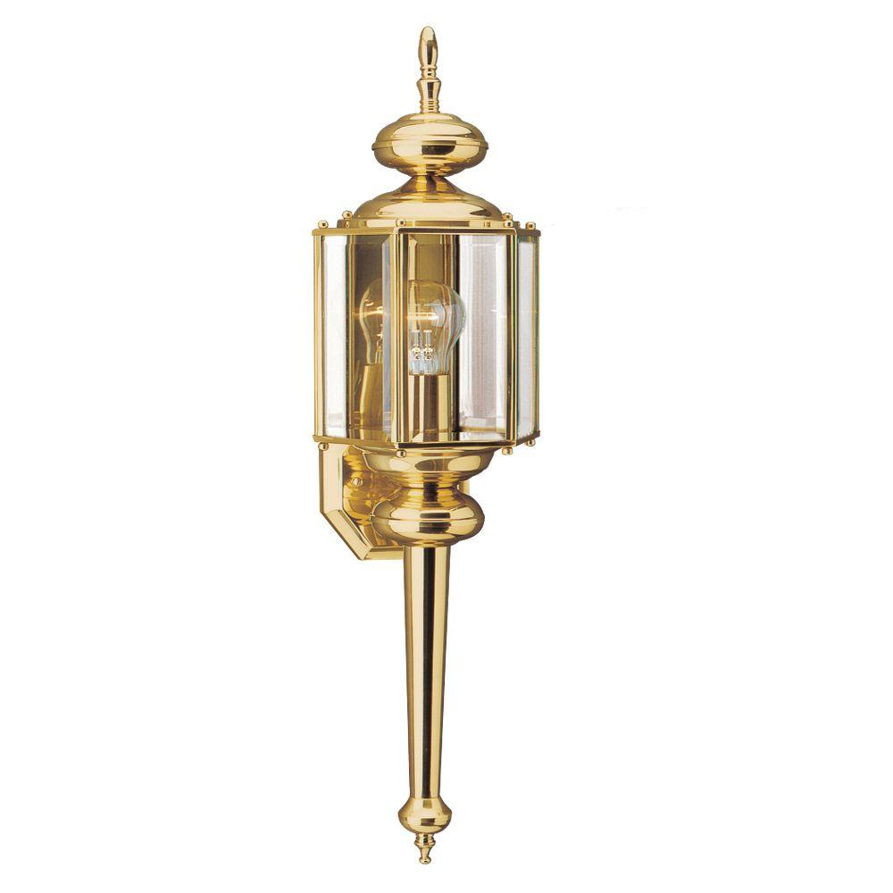 Sea Gull Lighting Classico 1-Light Outdoor Polished Brass Wall Mount Fixture