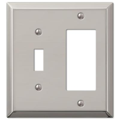 Metallic 2 Gang 1-Toggle and 1-Rocker Steel Wall Plate - Polished Nickel