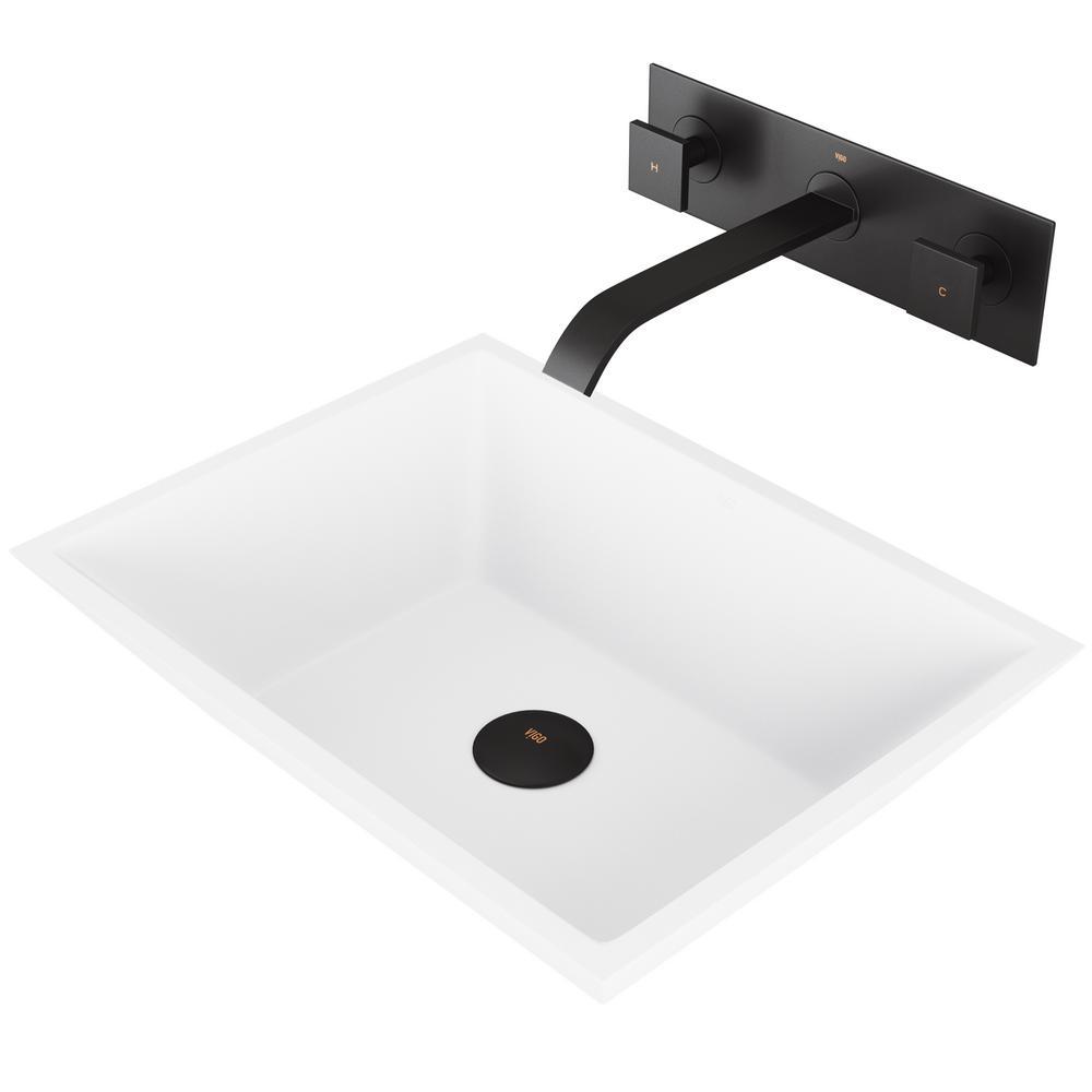 Vigo Vinca Matte Stone Vessel Bathroom Sink Set With Titus